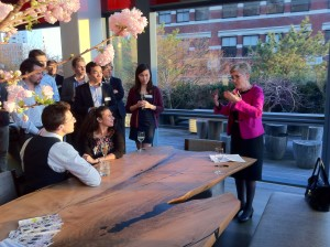 Master Dame Lynne Brindley speaks to gathered Pembrokians at the home of Chris Rokis '89, New York April 12, 2014